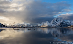 A perfect place to stay... (sarahOphoto) Tags: 6d canon europe islands lofoten nordland north norway snow mountains nappstraumen haug travel tourist holiday tourism landscape nordic arctic sea water reflection moody sky clouds nature red rorbuer