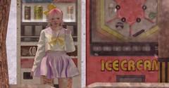 Meeting point (drayton.miles) Tags: momocha momo cha peach tea vending machines uniform lolita cute kawaii pastel color colours pink femboy costume crossdressing cross dressing sl second secondlife mesh