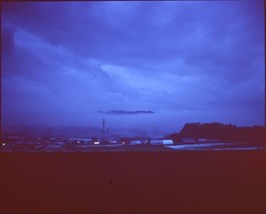 (✞bens▲n) Tags: mamiya 7ii velvia 100 80mm f4 film analogue 6x7 dark sky rain clouds blue fields landscape miyota nagano japan
