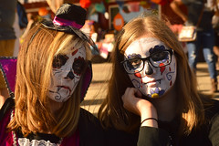 The serious types (radargeek) Tags: 2017 october dayofthedead plazadistrict okc oklahomacity facepaint kid child catrina