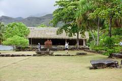 Ceremonial Hut 2 Nuku Hiva (jjknitis) Tags: 2019 cruise eurodam hollandamerica island march30 marquesas nukuhiva polynesia southpacific statue thatched tiki
