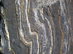 Folded-faulted banded iron formation (Temagami Iron-Formation, Neoarchean, ~2.736 Ga; Temagami North roadcut, Temagami, Ontario, Canada) 13 (James St. John) Tags: temagami ontario canada precambrian archean neoarchean banded formation bif magnetite quartz fault faults fold folds folded faulted
