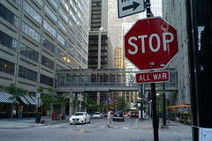 Stop all war (streetravioli) Tags: street photography chicago stop sign intersection transit peace no war