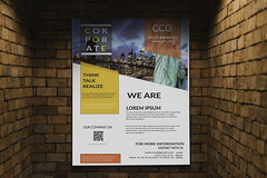 Corporate Flyer (Munira Munmun) Tags: ad advertise advertisement affixed billboard blankspace board brand branding brick brickwall brown city commercial communication copyspace designspace display indoor inside logo marketing media message minimal mockup modern mounted paper placard plain poster present projector promoting psd show sign signage signboard urban wall white