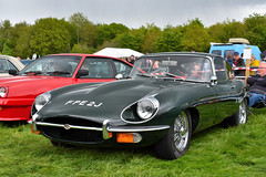 Jaguar E Type, Steam Rally, May 2019 (nathanlawrence785) Tags: car vehicle ni northern ireland cars tank carrickfergus antrim show rally classic vintage churchill jaguar e type ww2 bonnet green red