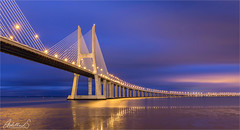 Starry, Starry Bridge, Lisbon (AdelheidS Photography) Tags: lights bluehour bridge river tejo vascodagama lisboa lisbon portugal adelheidspictures adelheidsmitt adelheidsphotography