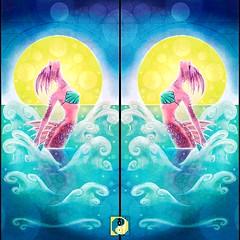 Daily #Art - Day 05-10-19 (hinxlinx) Tags: dailyart characterart femaleportrait portrait creatureart fantasycreature seacreature mermay mermaid mermaidcard moon ocean splash popupcard illustration hinxlinx ericlynxlin elynx instaart artofinstagram 軒