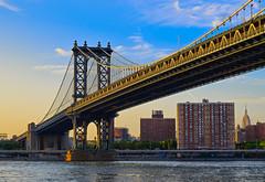 Manhattan bridge, New York City (Bokeh & Travel) Tags: manhattan bridge newyork ny nyc newyorkcity eastriver river riverfront riverside lower eastside city cityscape sunsetcolors sunset sunsetlight goldhour goldenhour colorful beautiful architecture brooklyn