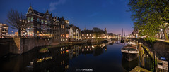 Delfshaven, Rotterdam (Antoni Figueras) Tags: rotterdam delfshaven netherlands holland europe cityscape canal bluehour reflections boat buildings night illuminated sonya7rii panorama sony1635f4 antonifigueras