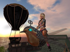 Perhaps Balancing Is More Of An Issue (Cherie Langer) Tags: steampunk inventor test flight clockwork sunset fantasy
