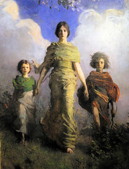 Abbott Handerson Thayer - A Virgin 1893 at Smithsonian Freer Gallery of Art Washington DC (karadogansabri) Tags: us usa washington dc smithsonian musuem art gallery freer arthur m sackler asian abbott handerson thayer family portrait painting a virgin 1893 children american realist realism museumuseum museo musée musee muzeum museu müze