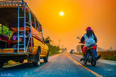 Orange Sky - Ben Heine Photography (Ben Heine) Tags: thailandstreetbenheinephotography thailand sky taxi safari road street orange morning moto travel discovery sun thailande chiangmai adventure visit drive sunset sunrise sonyalpha sony sonyalpha7r3 car transport
