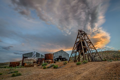 Abandoned Gold Mine at Sunset (Jeff Sullivan (www.JeffSullivanPhotography.com)) Tags: sunset clouds head frame mine historic mining ghost town esmeralda county nevada usa abandoned rural decay travel photography nikon d850 photos copyright jeff sullivan may 2019 hdr photomatix