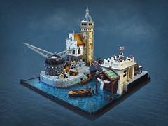 Historic Harbour Scene (Vaionaut) Tags: harbour port historic medieval pirates sea boat crane lego