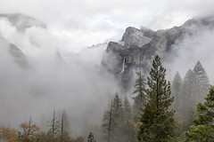 Low Clouds in Yosemite Valley (Kirk Lougheed) Tags: bridalveil bridalveilfalls california cathedralrocks tunnelview usa unitedstates yosemite yosemitenationalpark yosemitevalley autumn fall landscape nationalpark outdoor park water waterfall