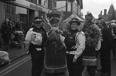 Wokingham Christmas Fair, 2018. Film 119014 (richardhunter3) Tags: reindeer christmas wokingham fair olympus om2 35mm ilford delta 3200 street police female officer high black white film 2018