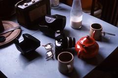 Table with Nikon (mr broddy) Tags: radio roberts case camera nikon milk bottle bread knife glasses cup table hebdenbridge yorkshire board lens spoon kitchen