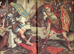The Robe: Swordfight (karadogansabri) Tags: therobe lloydcdouglas deancornwell illustration art romanempire rome marcellus diana caligula roman romans crucifixion jesuschrist