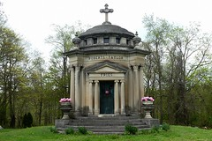 HAUNTED MAUSOLEUM IN THE MILAN OHIO CEMETERY (fstopfinatic) Tags: pointandshoot panasoniczs70 outdoor serene landscape clouds sky eriecountyohio ohio milan period yesteryear old cemetery mausoleum ghost ghostly haunted spooky grave death