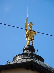 St Alexander statue on top of Bergamo cathedral (litlesam1) Tags: churches italy2019 duepazziragazziamilano2019 march2019 bergamo