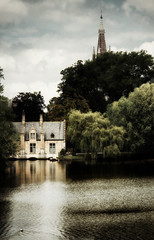Bruges | Belgium (Weir View) Tags: photo waterscape lake duck house trees spire bruges belgium holiday churchspire city