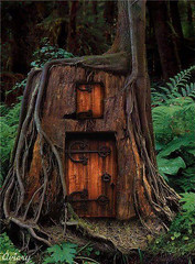 Old-Growth Stump House (Heath & the B.L.T. boys) Tags: stump oldgrowth door rustic forest