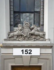 Keeping Guard (Jocey K) Tags: christchurch newzealand architecture building numbers crest window detail