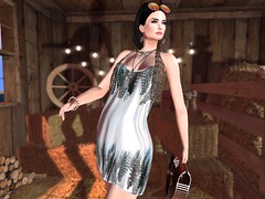 Entrance no.401 (Curiosse) Tags: secondlife dress white turqoise gray feathers acrylic purse brown wood may beautiful fun {indyra}