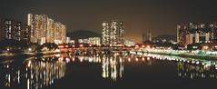 Shing Mun River, Hong Kong (stevenwonggggg) Tags: film hasselblad xpan water light reflection city bridge