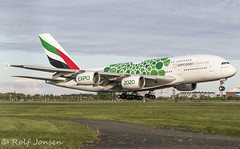 A6-EOK Airbus A380 Emirates Glasgow airport EGPF 12.05-19 (rjonsen) Tags: plane airplane aircraft aviation airliner flying landing runway touchdown special scheme livery whalebus