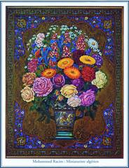 Mohammed Racim - Miniaturist (Sabri KARADOĞAN) Tags: mohammedracim algerie algeria alger algiers art draw picture color flower miniaturist miniaturiste creation argelia fleur blue rose bouquet nice algerien crafts artist arab casbah oriental traditional islam muslim islamic handmade design patern