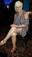 Wife - Elvis night out (Curryfan) Tags: wife blonde legs anklestraps stockings pubnight