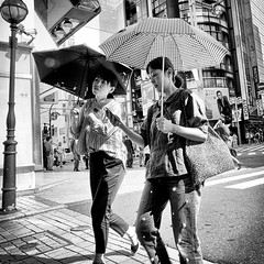 shinjuku, japan (michaelalvis) Tags: asia bw blackandwhite buildings candid city citylife cellphones cellphone pedestrian fujifilm flickr friends japan japanese japon japanesesigns monochrome mono nihon nippon peoplestreet portrait people peoplestreets parasol streetphotography streetlife street signs shinjuku travel tokyo tourists urban umbrella women woman walking x70 happyplanet asiafavorites