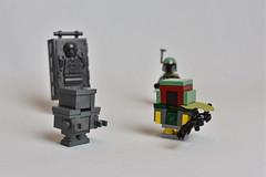 """He's no good to me GONK"" (WG Productions) Tags: lego star wars starwars boba fett han solo carbonite galactic civil war empire bounty hunter smuggler gonk droid"