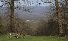 Park With A View-HBM! (☼It Finally Feels Like Spring!!☼) Tags: benchmonday bench neardelawarewatergap orangebench scenery hills house parkwithaview