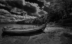 On the Beach (scrimmy) Tags: scotland birnam rivertay fishing boats beach sky trees sand blackandwhite monochrome landscape