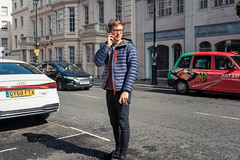 Save The Space (Sean Batten) Tags: london england unitedkingdom streetphotography street mayfair centrallondon person candid parking cars mobilephone city urban taxi fuji fujifilm x100f