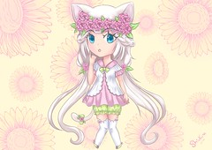 Spring Chibi (Shinkura @BinaryHearts) Tags: kawaii cute pink rose chibi spring neko chat shinkura vert green fille girl