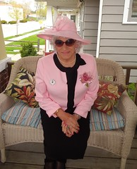 Now I Am Ready To Join The Mother's Day Crowd (Laurette Victoria) Tags: laurette woman suit pink hat sunglasses mothersday porch