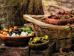 Garnished in Wooden Bowls (clarkcg photography) Tags: relish garnish taste bits cheese olives tomatoes pickles strawberries grapes woodenbowls basket textures texturaltuesday stilllife