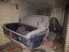 Abandoned car in derelict underground car park (sarflondondunc) Tags: derelict abandoned fordcortina undergroundcarpark