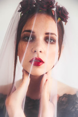 poisonred (elilynx) Tags: veil bridal alternativebridal redlips makeup editorial magazine beauty