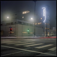 Fog on Sunset (ADMurr) Tags: la hollywood fog sunset blvd night red green lights hasselblad kodak ektar zeiss 50mm dba237