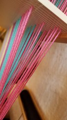 Incorrect shed for front heddle up, steps 1, 4, 7. 3 shaft weaving on rigid heddle loom (Sweet Annie Woods) Tags: