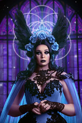 Nocturnus (Wurmwood Photography) Tags: nikon godox fovitec light portrait photography wurmwood mywitchery alicecorsets woman beauty face creative blue purple designer fashion fantasy ethereal fineart art makeup lighting colorful colors