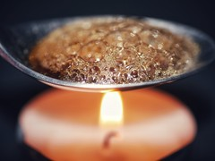 Liquified (Scouse Smurf) Tags: liquified melted spoon candle flame macro