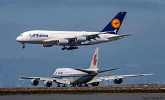 Lufthansa / Airbus A380-841 / D-AIML / Air China / Boeing 747-89L / B-2485 / SFO (tremblayfrederick98) Tags: