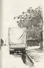 Blooming chestnuts (Bohdan Tymo) Tags: drawing ink spring trees lorry