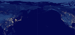 North Pacific Ocean at Night, variant (sjrankin) Tags: 15may2019 edited panorama northpacific northpacificocean eastasia westernnorthamerica mexico unitedstates canada arcticocean russia korea china japan citylights hawaii usgs noaa nasa suominpp snpp 2981mb large