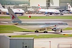 A7-ABV 1 Airbus A300B4-622R Qatar Airways LHR 01JUN02 (Ken Fielding) Tags: a7abv airbus a300b4622r qatarairways aircraft airplane airliner jet jetliner widebody